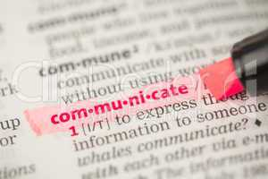 Communicate definition highlighted in red