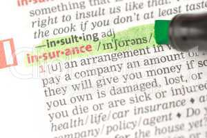 Insurance definition highlighted in green