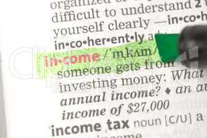 Income definition highlighted