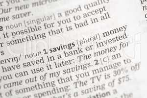 Savings money definition