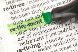 Retirement definition highlighted in green