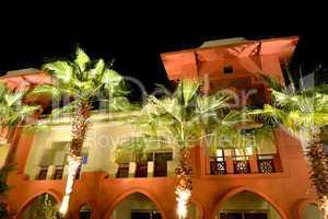The building of luxury hotel in night illumination, Hurghada, Eg
