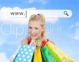 Happy blonde with her shopping bags under address bar