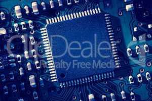 Blue micro electronic circuit