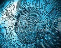 Illustration of blue fingerprint