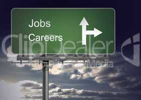 Signpost showing the direction of jobs and careers