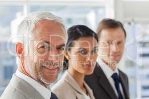 Smiling business people looking in the same way