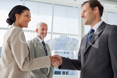 Smiling business people shaking hands with smiling colleague beh