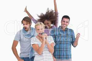 Happy group at karaoke