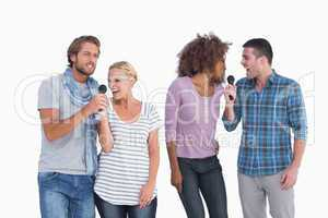Fun group at karaoke