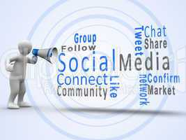 White figure revealing social media terms with a megaphone