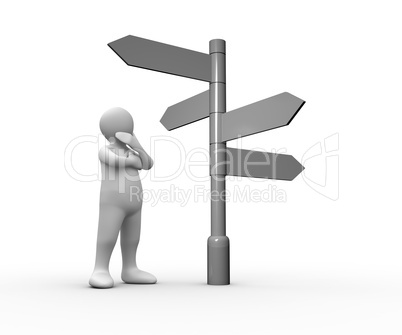 Confused white human representation looking at blank roadsign