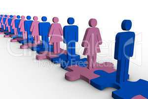 Line of blue and pink human forms standing over meshed jigsaw pi