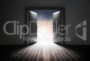 Doors opening to reveal beautiful sky