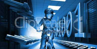 Child on bike in data center with binary code in blue