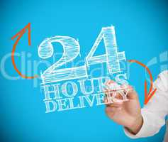 Businesswoman writing 24 hours delivery