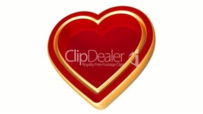 3d red golden love heart, valentines day, wedding animation, alpha matte