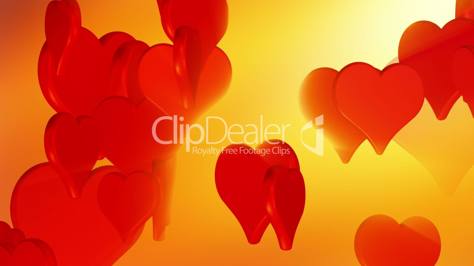 Flying Red Love Hearts Wedding Background Animation Valentines