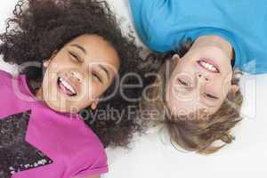 Interracial Boy & Girl Children Having Fun