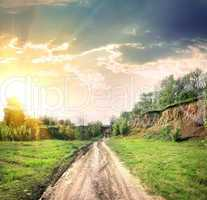 Country road and open land
