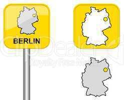 Ortsschild, Deutschlandkarte und Button von Berlin