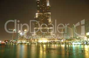 DUBAI, UAE - JUNE 7: The view on Burj Khalifa and man-made lake.