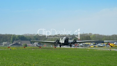 historic airplane Junkers JU 52 roll on taxiway 10909