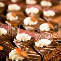 Tastefully decorated chocolate cake pieces