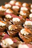 Close up of decorative chocolate desserts