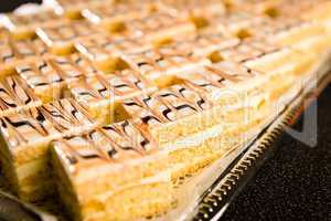 Number of honey cake pieces on tray