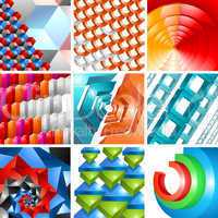 3d background abstract design set