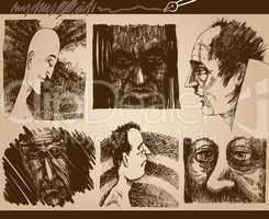 people faces sketch drawings set