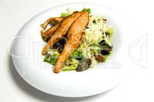 Grilled salmon steak with herbs and vegetables
