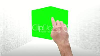 Montage of green screens in a cube interaction as a tablet