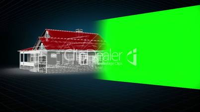 Montage of model house with chroma key space