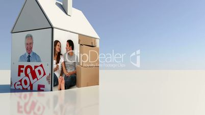 Real estate and moving home montage with copy space