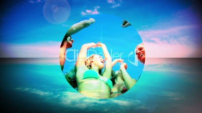 Montage of young people having fun at the beach