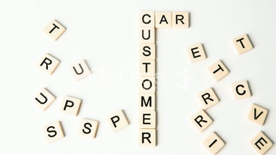 Customer relations buzz words formed into crossword shape