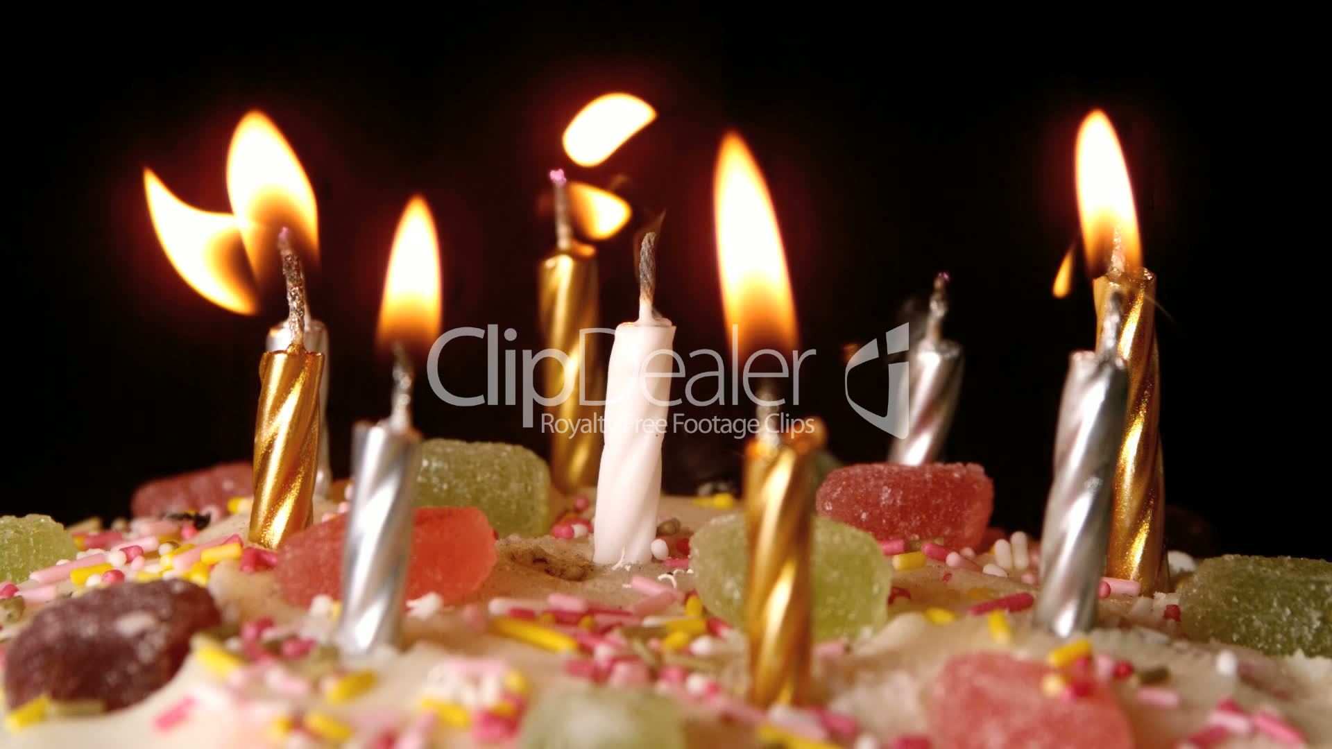 Candle Pink White Glitter Lighting Lit Flame Fire Blown Out Extinguished Breeze Wind Wish Flickering Icing Cake
