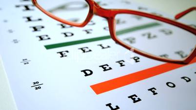 Red reading glasses falling onto eye test