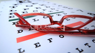 Red reading glasses falling onto eye test close up