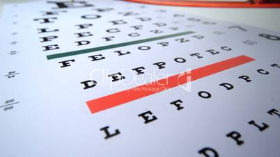 Close up of two pairs of glasses falling on eye test