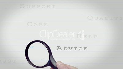 Magnifying glass finding customer care buzz words