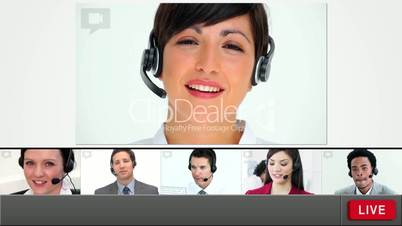 Live chat with customer service agents loading up with copy space