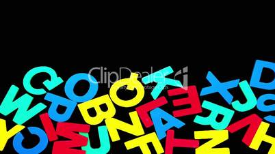 Colourful alphabet forming from pile of letters on black background