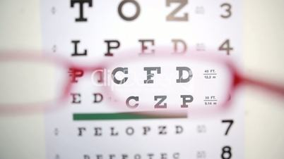 Glasses trying to read letters on reading test
