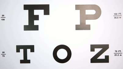 Focus on eye test letters