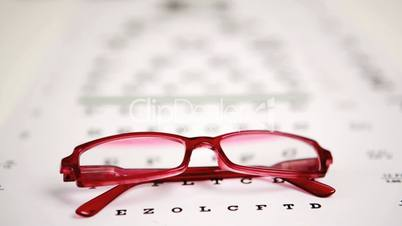 Focus shot on glasses lying on eye test
