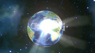 Earth rotating in space