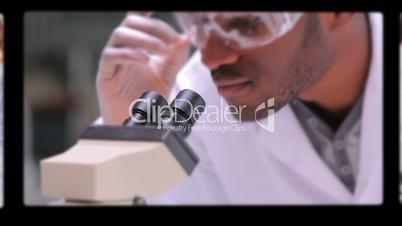 Montage of screens showing scientific scenes